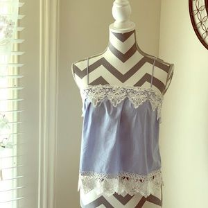 Express Blue and White Lace Cami with thin straps.